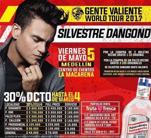 Gente Valiente World Tour Silvestre Dangond 2017