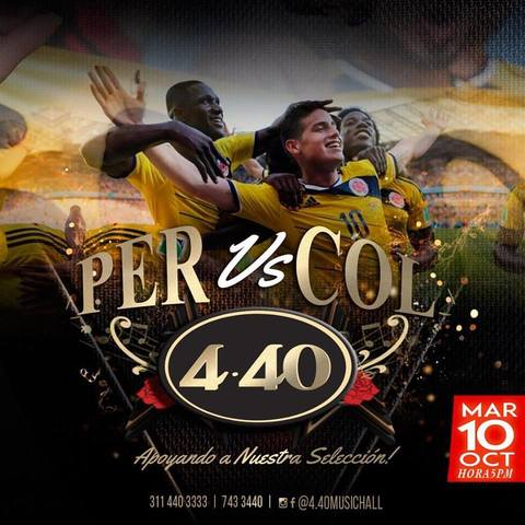 Colombia Vs Perú en 4.40 Music Hall