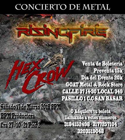 Concierto de Metal Rising Fire y Hex crow