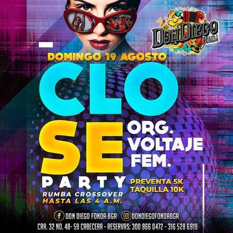 Este domingo Close Party en Fonda Don Diego.