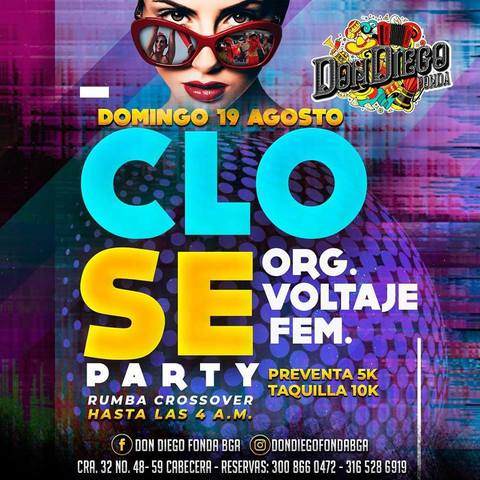 Este domingo Close Party en Fonda Don Diego.